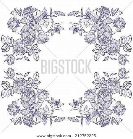 vintage vector floral frame in victorian style, flowers, buds and leaves of roses and lilies, ink drawing, imitation of engraving, hand drawn design template