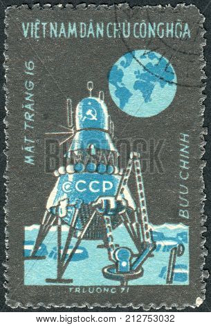 VIETNAM - CIRCA 1971: Postage stamp printed in Vietnam shows Moon flight of