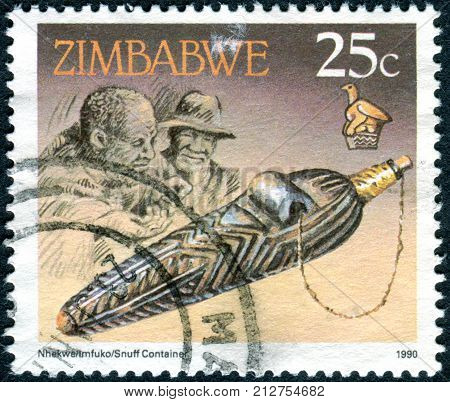 ZIMBABWE - CIRCA 1990: A stamp printed in Zimbabwe shows the Snuff container circa 1990