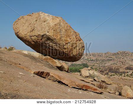 Unique landscape in India. Granite boulder in Hampi.