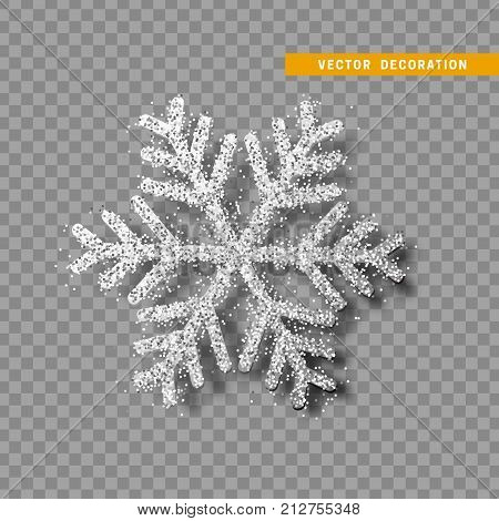 Christmas decoration, silver snowflake covered bright glitter, on transparent background. Xmas ornament white snow with bright sparkles.