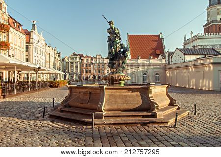POZNAN POLAND - OCTOBER 01th 2017: Neptune's Fountain - one of the four fountains on the Old Market Square in Poznan.