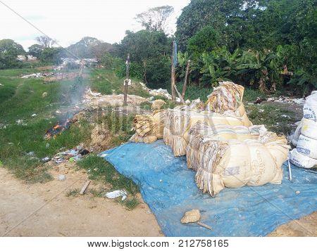 SANTO DOMINGO, DOMINICAN REPUBLIC - OCT 25, 2015: Informal bag recycling in Santo Domingo, Dominican Republic