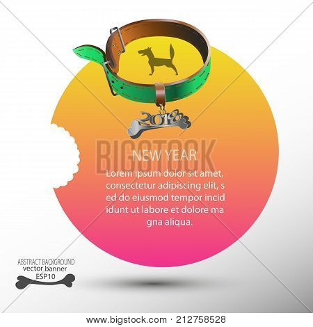 2018 Yellow banner with dog and dog collar for new year for background ...