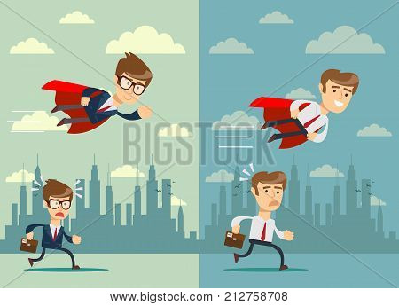 businessman with red cape fly pass his competitor. Set. Stock flat vector illustration.