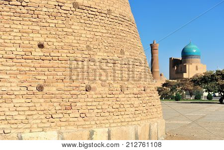 Bukhara: view of mosque Kalyan minaret and fortress