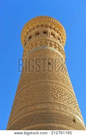 Bukhara: Kalyan minaret on the blue sky