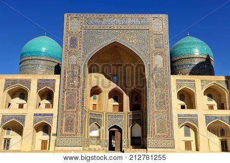 Bukhara: facade of the Miri Arab Madrasa