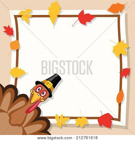 vector happy thanksgiving day card. turkey cartoon for sale banner. eps10 holiday background border illustration decorated with colorful autumn leaves