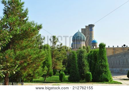 Samarkand: scenic view of the Registan domes