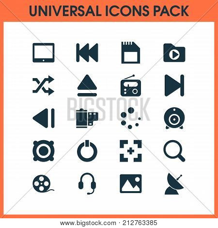 Multimedia Icons Set. Collection Of Tuner, Magnifier, Broadcast And Other Elements