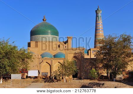Khiva: mosque and minaret of old town