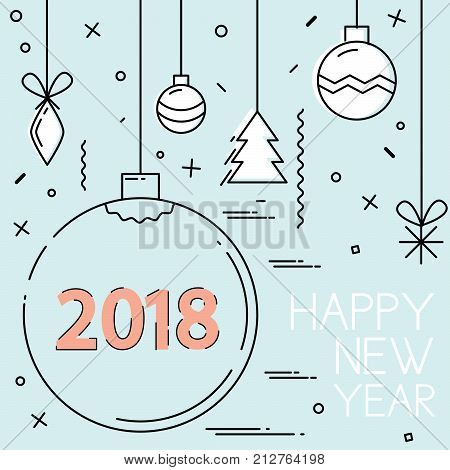 New Year 2018 and Christmas flat line design. 2018 Happy New Year. Colorful banner for new year. Vector illustration