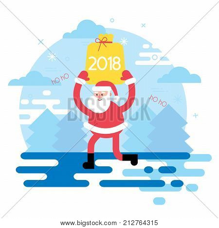 Happy New Year 2018 year with ribbon and santa holiday background.