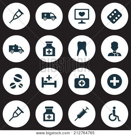 Medicine Icons Set. Collection Of Healer, Peck, Dental And Other Elements