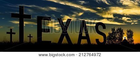 Pray for Texas.  3D rendering of tombstones with the word Texas and Church in the background.