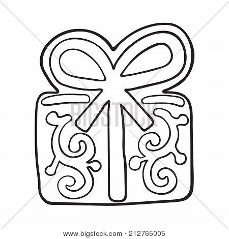 Glazed present, gift box shaped homemade Christmas gingerbread cookie, sketch style vector illustration isolated on white background. black and white gingerbread cookie in shape of present, gift box
