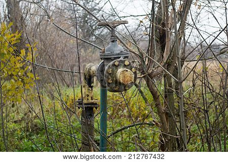 The gas valve of an abandoned gas track that has been shut down