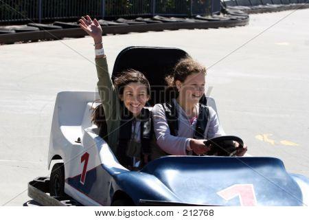 Girls On Go Cart