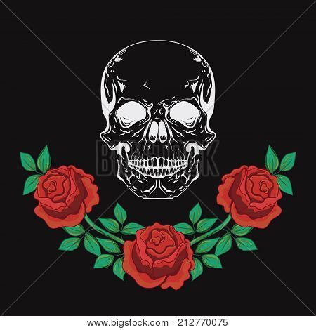 Graphic design with skull and roses vector illustration for t-shirt, fashion clothes, apparel decoration