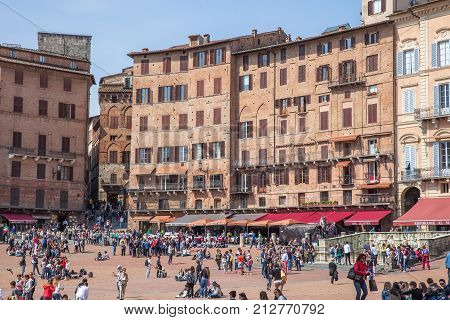 Siena Italy - April 04 2017: Piazza del Campo (Campo Square)