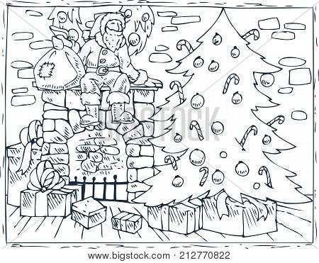 Coloring Book Page. Christmas Composition with Santa, Christmas Tree, Fireplace and Gifts in the Room