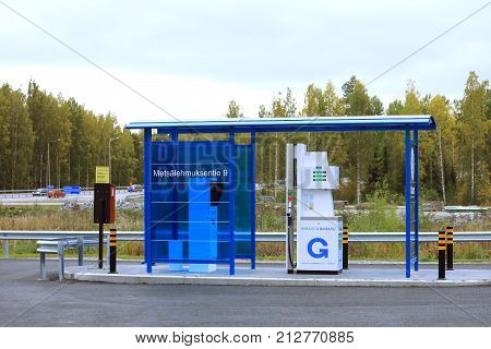 JYVASKYLA FINLAND - SEPTEMBER 22 2017: Gasum gas filling station in Jyvaskyla Finland. The station serves both cars and heavy duty vehicles and offers CNG biogas and LNG for fuel.