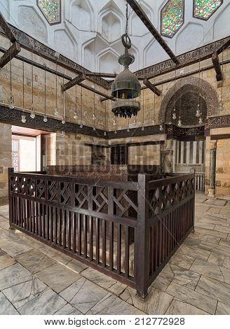 Cairo, Egypt - September 23, 2017: Interior of Mausoleum of al-Salih constructed by As-Saleh Nagm Ad-Din Ayyub in 1242-44 Al Muizz Street Old Cairo Egypt