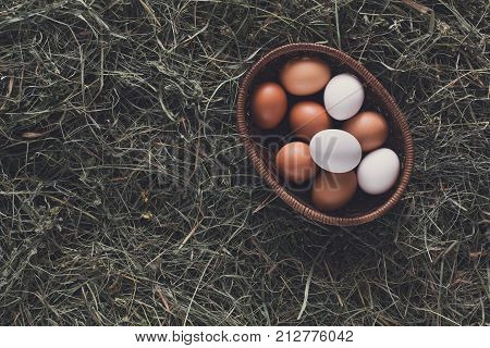 Poultry ecological farm background. Fresh brown and white eggs on hay in basket. Top view. Rural still life, natural organic healthy food concept. Copy space