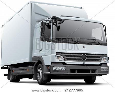 High quality vector image of white delivery truck isolated on white background. File contains gradients blends and transparency. No strokes. Easily edit: file is divided into logical layers and groups.