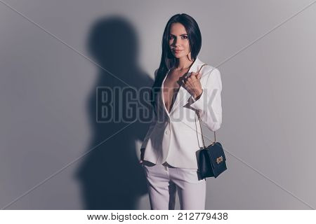 Cute Stunning Adorable Perfect Successful Dreamy Lady, Standing On Pure Background, With Golden Chai