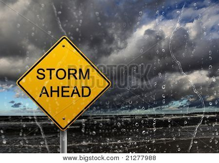 yellow warning sign of bad weather ahead against stormy sky poster