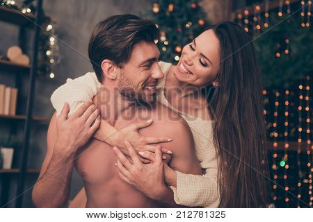 Celebrate Christmastime, Embrace, Brunette Lady Rides Married Brunet Partner On Rear, Cuddle, Cute F