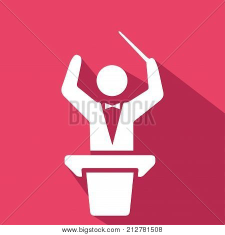 Conductor orchestra. Sound and music icon. Flat design. Vector illustration.