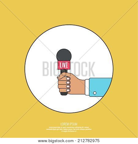 Journalism concept. Live news template with microphone. Symbol breaking news on TV radio. Journalist holding mic. interview, reporter, press, interviewer, media, paparazzi. Vector Linear design