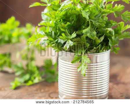 Parsley sprigs in a brown wicker basket and wooden board. Garden parsley herbs. Organic effective source of anti-oxidant nutrients, vitamin K, vitamin C and vitamin A. Closeup