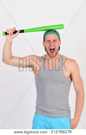 Player With Suffering Face Ready To Play Baseball.