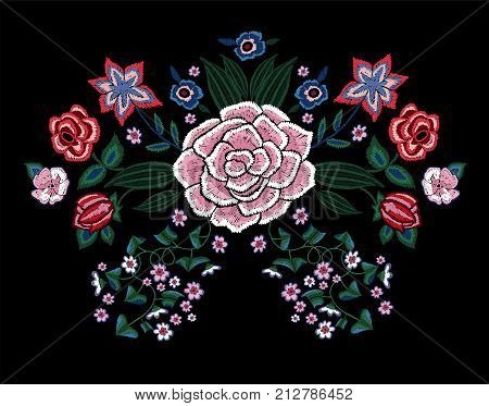 Embroidery traditional pattern with simplify flowers. Vector embroidered trend floral  design for fashion wearing.