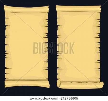 Papyrus scrolls, aged blank paper scroll, medieval retro yellowish manuscript, diploma or certificate template. Vector