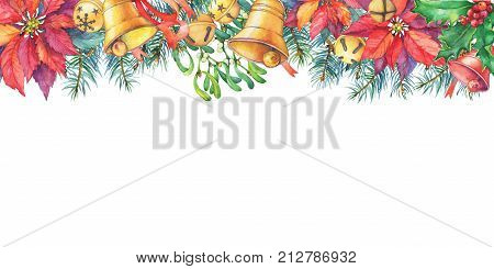 Greeting card with Christmas tree, poinsettia, holly, bell. Christmas decoration, for greeting card, invitation. New Year. Watercolor hand drawn painting illustration isolated on white background.