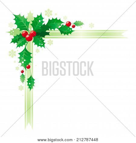 Merry Christmas and Happy new Year corner border banner frame with holly berry leafs. Isolated on white background. Abstract poster, greeting card design template. Vector illustration