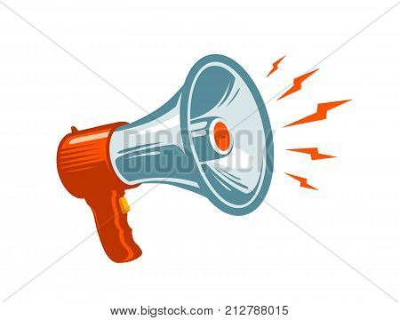 Megaphone, loudspeaker symbol or icon. News, notice, notify, advertising, promotion concept. Vector illustration isolated on white background