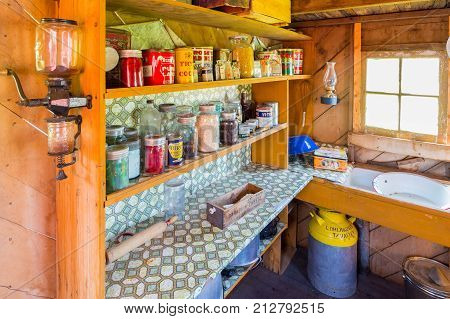 Longview August 2015 This old kitchen inside wooden wagon located in baru ranch national historic in this period is visited by tourist to see how drovers prepared their meals in 19th century.