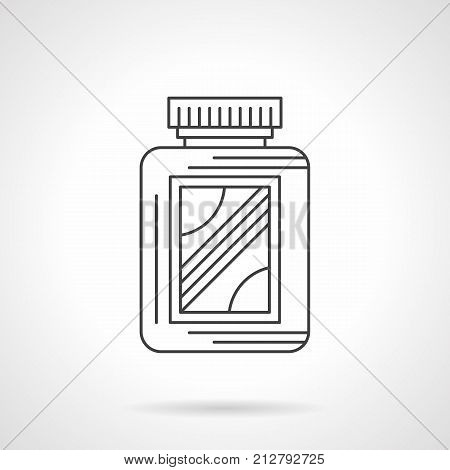 Symbol of amino acid supplement jar. Sport nutritional additives for bodybuilding and fitness. Flat black line vector icon.