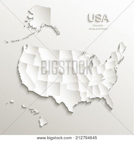 USA map with Alaska and Hawaii, separate states individual, card paper 3D natural vector
