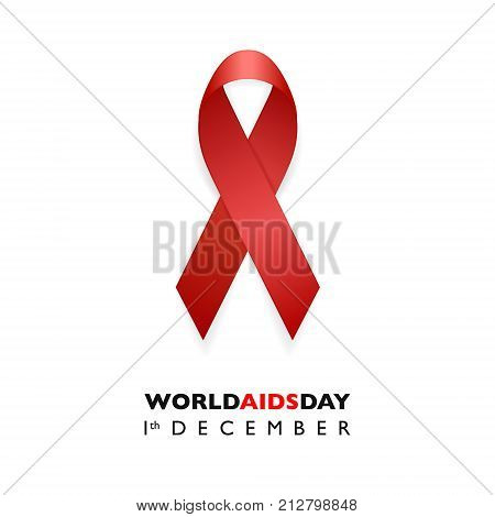 Banner with Aids Awareness Red Ribbon. Aids Day concept. Design template for websites magazines, infographics, advertising. EPS10 vector illustration.