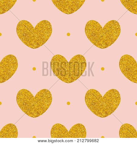 Tile vector pattern with golden hearts and polka dots on pink background