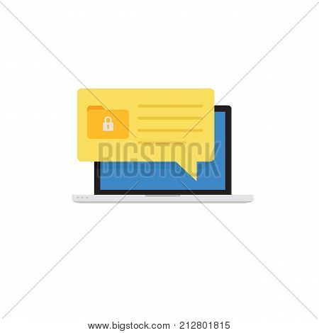 Laptop with File Security Notification. Security Protection Concept. Flat Design of Notebook with Folder and Padlock Icon Notification