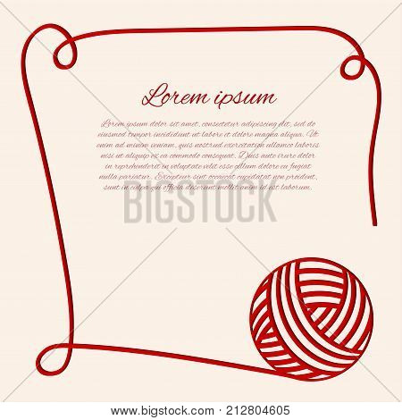 Vector illustration with red clew. Papercut yarn. Red fibre. Can be used us invitation card. Border with thread.