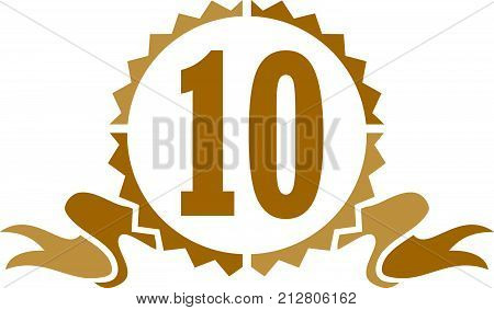 Best Quality Ribbon Number 10 Logo Design Template Vector